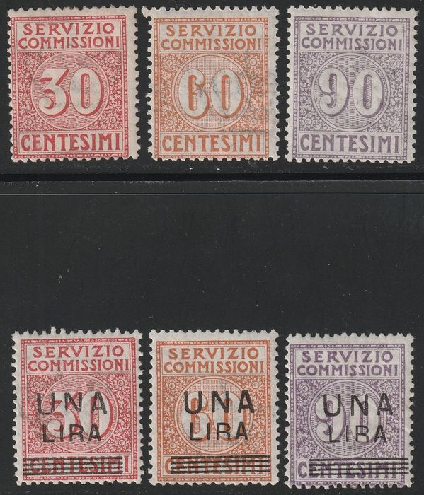 Königreich Italien 1913/25 - Commission service - the 2 complete intact set with fair centring - Sassone S.2500+2501