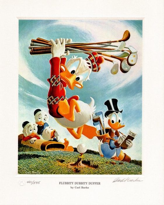 Signed and numbered Carl Barks lithograph - Flubbity Dubbity Duffer - (1999)