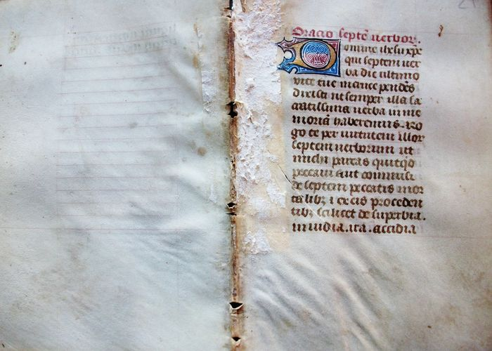 (French Atelier) - Manuscript; page sheet from a book of hours on vellum - XV century