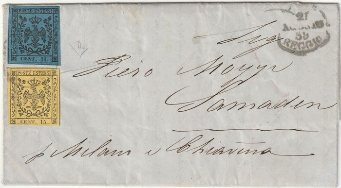 Italienische antike Staaten - Modena 1859 - Provisional Government bicolour with 15 + 40 c. on letter from Reggio to Switzerland, certified - Sassone NN.10+3