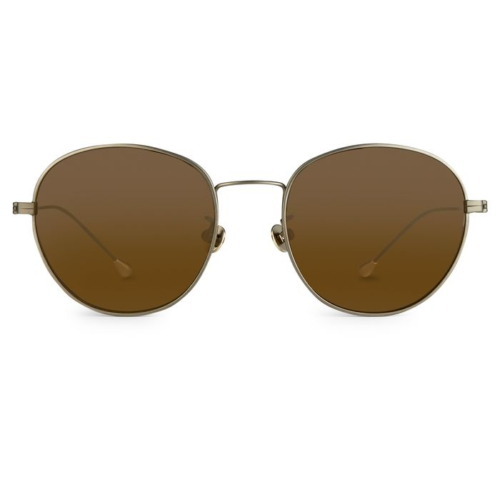 Ann Demeulemeester - Oval Antique 925 Silver Titanium with Brown Lenses CAT3 AD28C3SUN Sunglasses
