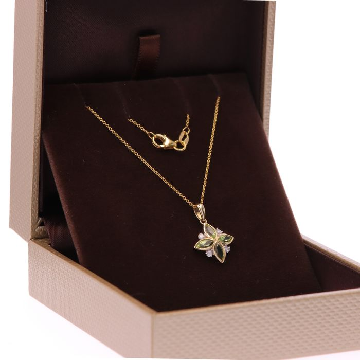 14 kt. Yellow gold - Necklace with pendant, Cable Chain - 0.66 ct Diamond - Peridot
