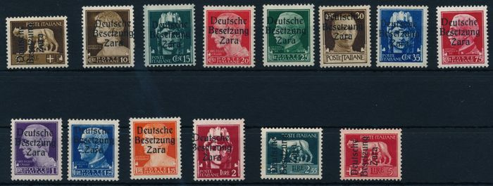 "Reich Germană - Ocupația Zara 1943 - Definitives with overprint ""Deutsche Besetzung Zara"" (German Occupation Zara) - Michel Nr. 1 - 13, 15 mit Fotobefund Brunel VP, ""echt & einwandfrei"""