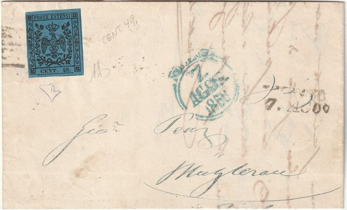 Italienische antike Staaten - Modena 1858 - 40 c. variety 49 CENTS with good margins on letter to Muhlerau, certified - Sassone N.10a