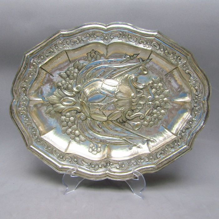 Salver - Silver, Law 916 - 513 gr. - ST.G.S. - Spain - Mid 19th century