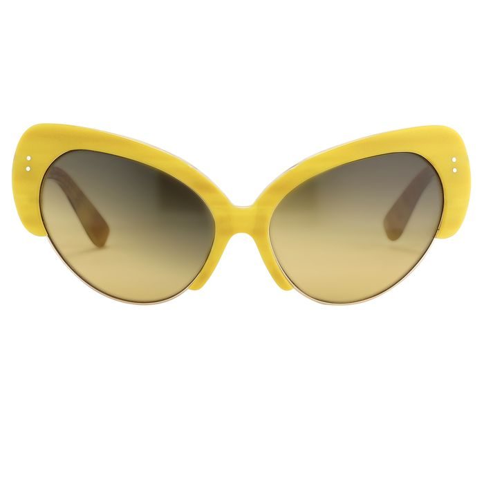 "Erdem - Cat Eye Yellow Brown Horn With Green Graduated Lenses - EDM7C5SUN""NO RESERVE PRICE"" Sunglasses"