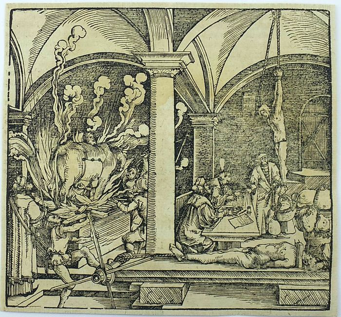 Hans Weiditz (1500-1536) - Master Woodcut: Medieval Execution and Torture Chamber - Brazen Bull - 1532 [c 1560] - 1560