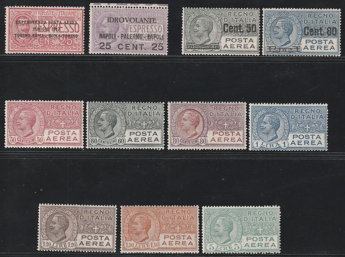 Königreich Italien 1917/27 - Airmail, Victor Emmanuel II, 4 complete and intact sets - Sassone N.1+2+S.1500+1501