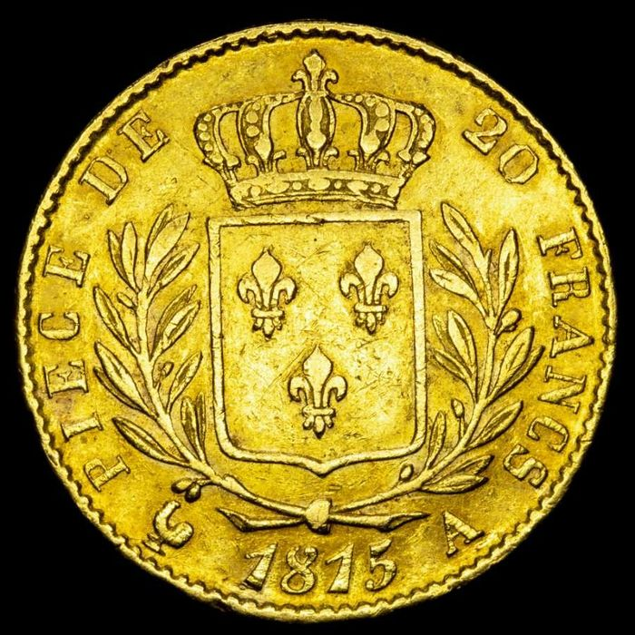 France - 20 Francs 1815-A (París) Louis XVIII - Or
