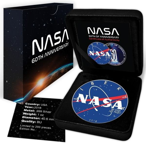 United States. 1 Dollar 2018 NASA 60th Anniversary Colorized - 1 oz