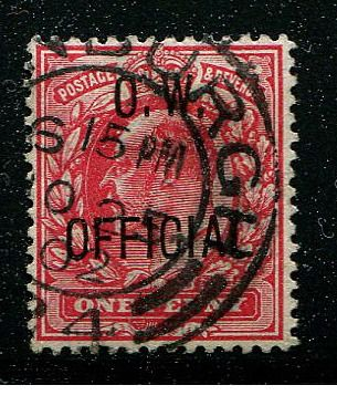 Grã-Bretanha - Inglaterra 1902 - One penny scarlet OW OFFICIAL - Stanley Gibbons O37