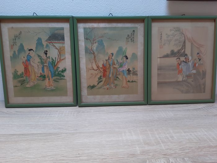 Paintings on silk (3) - Silk - Glimpses of family life - China - First half 20th century
