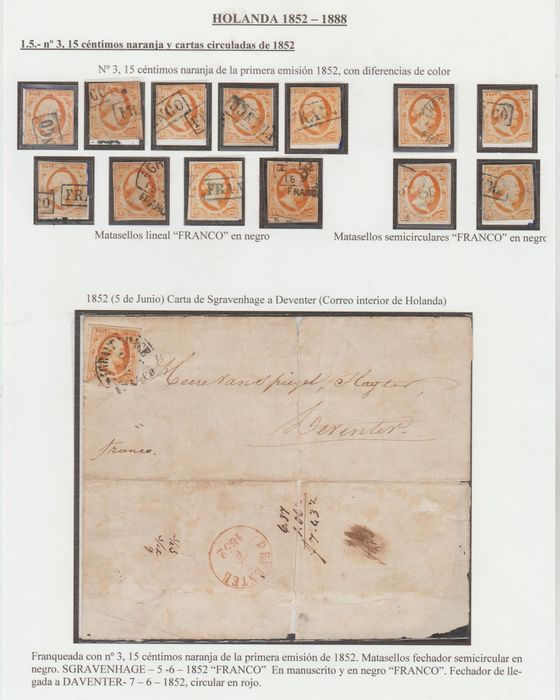 Netherlands 1852 - King Willem III on a letter and thirteen loose stamps - NVPH 3