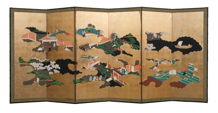 Byobu - Gold Blatt - Full size 6 panel roomdivider with a painting of different leisures activities - Japan - Meiji Periode (1868-1912)