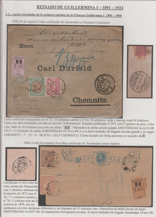 Netherlands 1896/1898 - Letter and mail sheet with Princess Wilhelmina and numeral stamp