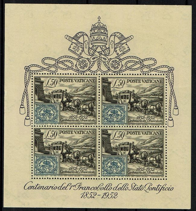 Vatikanstadt 1952 - Souvenir sheet centenary of the first stamps of the Papal States - Sassone N. BF 1