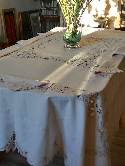 tablecloth for 12 people (13) - Linen, Burano lace