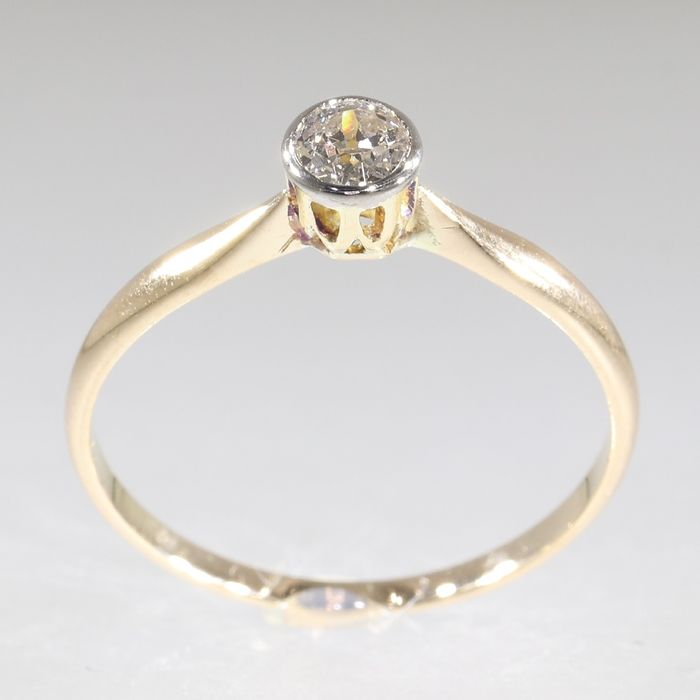14 kt. White gold, Yellow gold - Ring, Solitair, Vintage 1920's Art Deco - 0.25 ct Diamond - Natural (untreated), Free resizing*