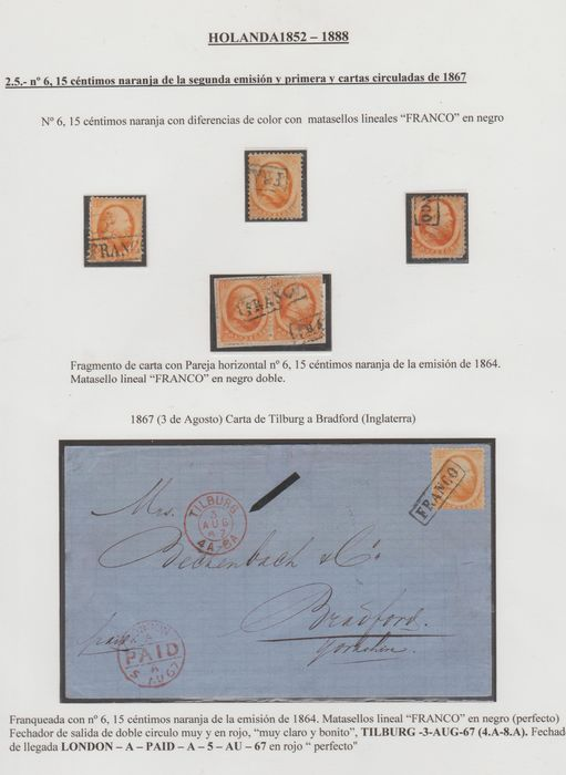 Netherlands 1864 - Second emission on a letter, in a pair and three loose stamps - NVPH 6