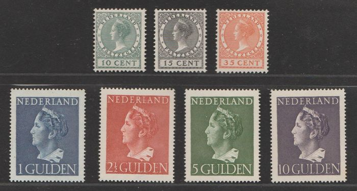 Netherlands 1924/1946 - Exhibition and Queen Wilhelmina 'Konijnenburg' - NVPH 136/138 + 346/349