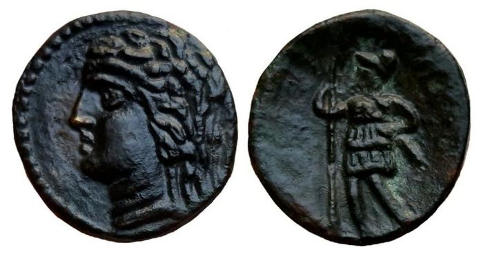 Griechenland (Antike) - Sicily, Alaisa Archonidea. AE 15, circa 208-186 BC - Warrior standing with spear and sword - Bronze