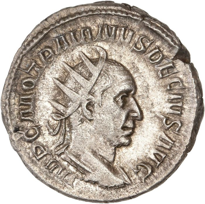 Roman Empire - AR Antoninianus, Trajan Decius (AD 249-251) - ADVENTVS AVG, Trajan Decius on horseback to left - Sølv
