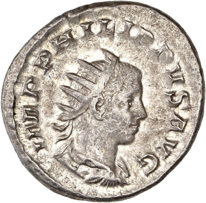 Römisches Reich - AR Antoninianus, Philip II (AD 247-249) Roma (Rome) - Philip I and II seated left on sella curulis - Silber