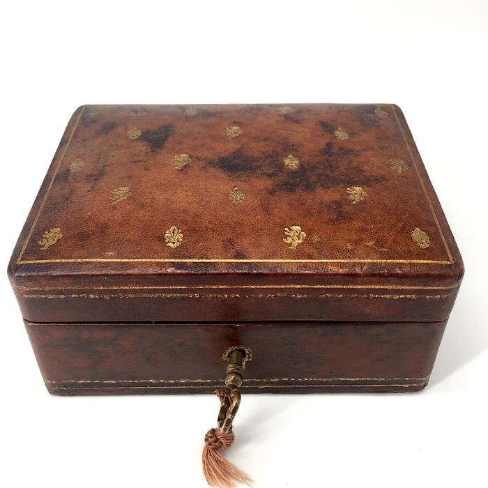Jewellery box - Gold leather - Late 19th century