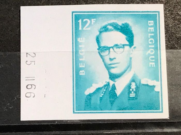 accessories 1966 - Kong Baudouin: Marchand 'Baudouin with glasses' - 12fr imperforate with printing date- Unique - OBP / COB 1371ND