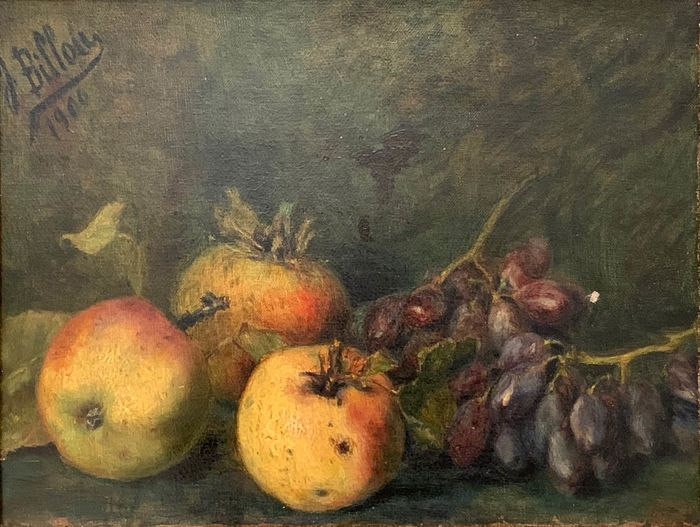 Painting, French school (J. Billou) Still life with fruit - Oil on canvas - Hand signed - 1900
