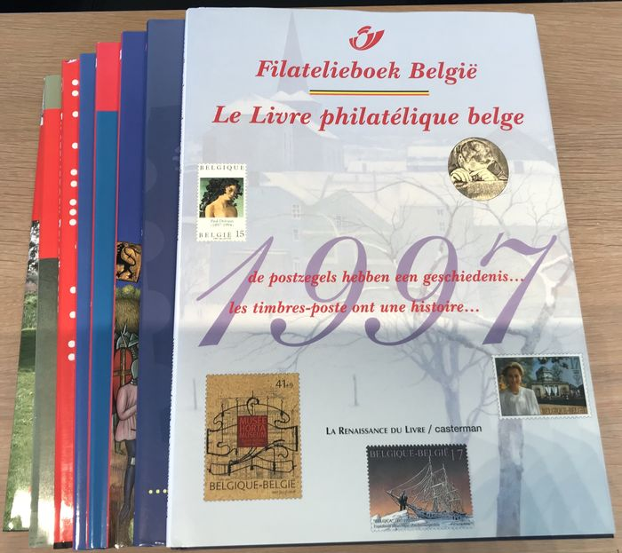 Belgium 1997/2008 - Lot of philately books with stamps (eight pieces)