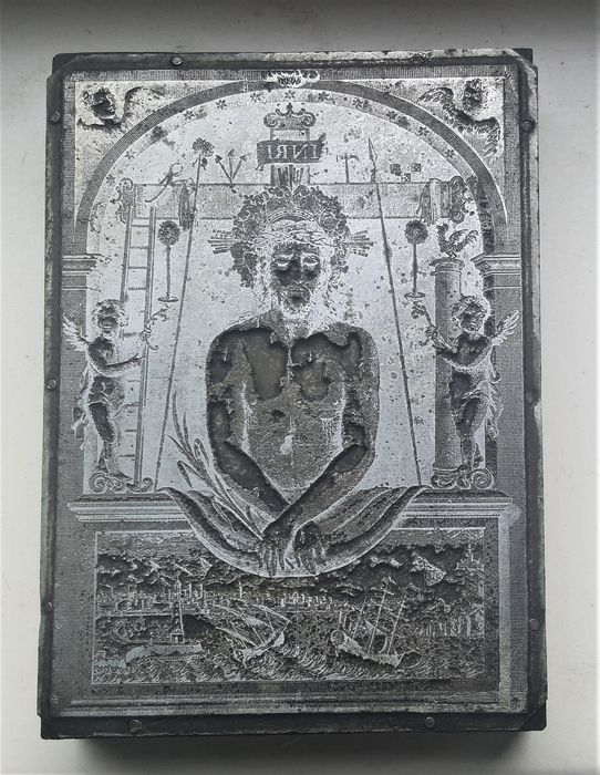 Printing plate - Christ after his Ascension - Surrounded by 2 Angels showing the Arma Christi - White Metal - 19th century