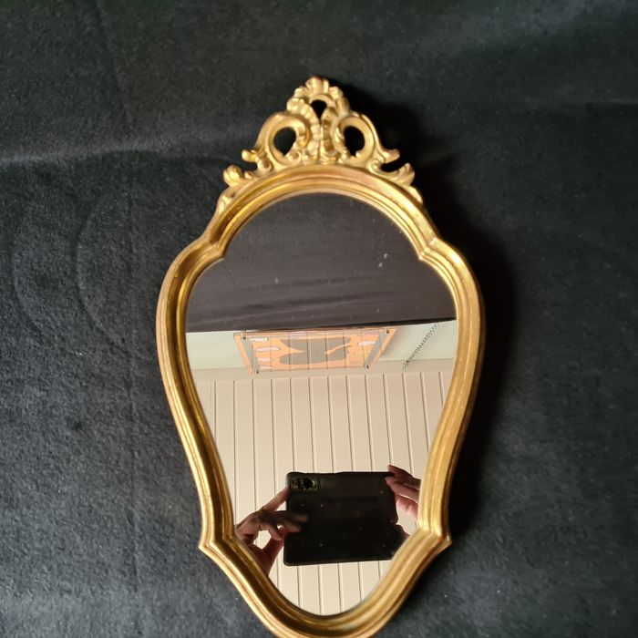 Large gold colored mirror - Wood