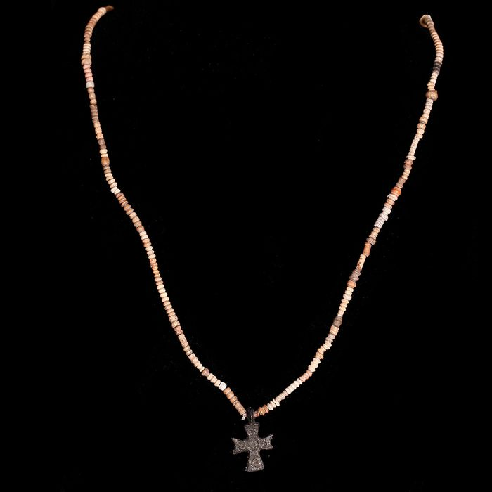 Ancient Egyptian Terracotta Coptic Bead Necklace with Bronze Cross