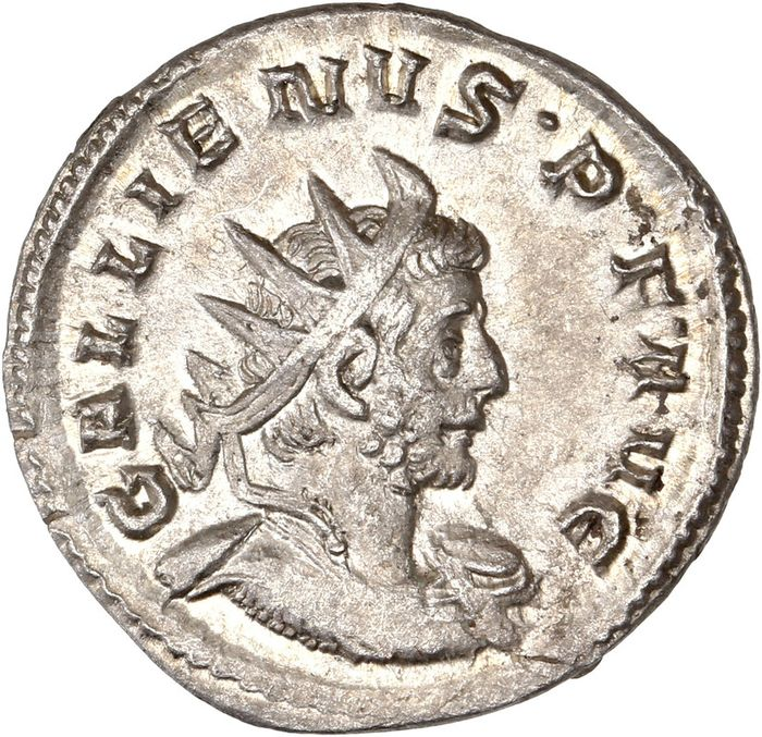Römisches Reich - AR Antoninianus, Gallienus (AD 253-268) Cologne - VICT GERMANICA Victory standing right on globe - Silber