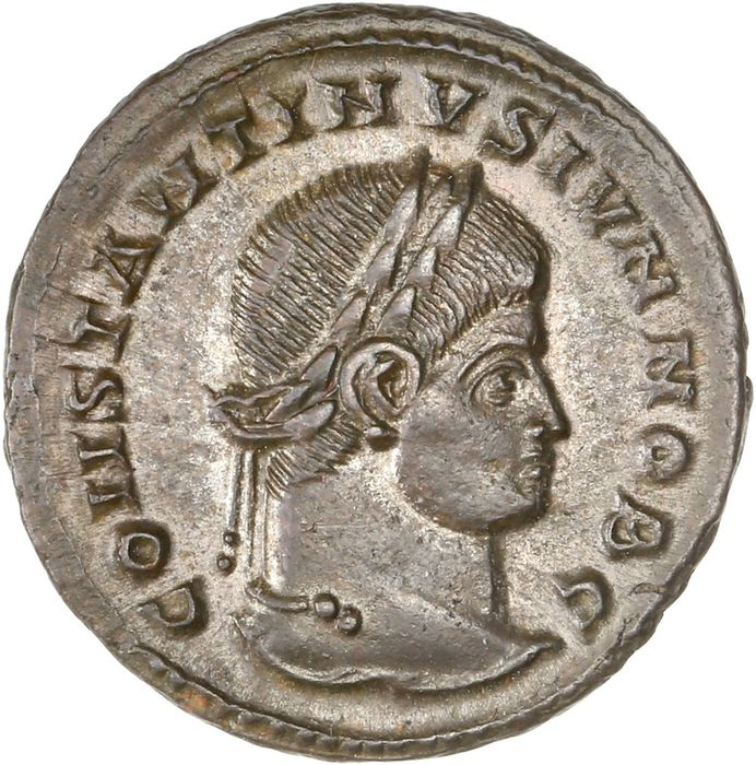 Römisches Reich - AE Follis, Constantine II (as Caesar, AD 317-337) Siscia - Camp gate, with two turrets and open doorway