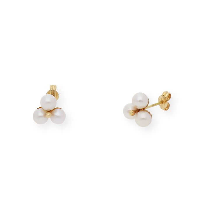 18 kt. Akoya pearls, Yellow gold, Between 6.00 mm and 6.50 mm - Earrings