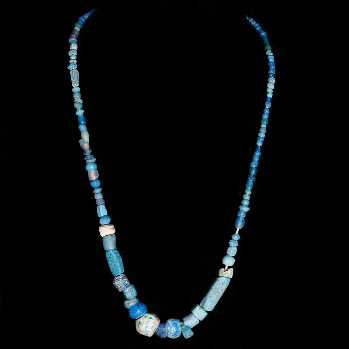 Achaemenid Glass Restrung Necklace with Blue Beads