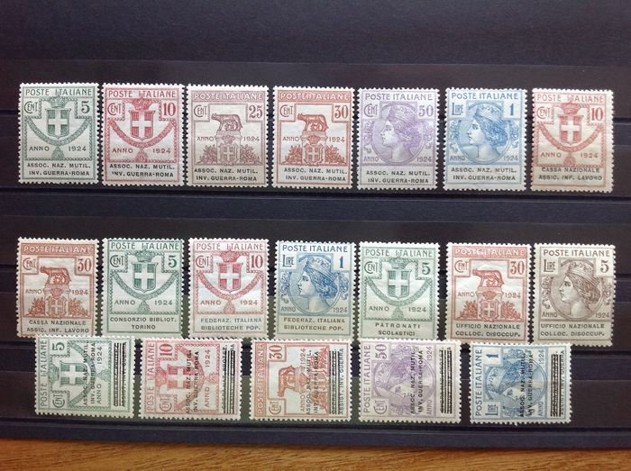 Italien 1924 - Kingdom 1924 STATE-CONTROLLED ORGANISATIONS, LOT of different stamps - Sassone 5/10+18+20++30+31+34+37+58+65+68+70+71+73+74+75