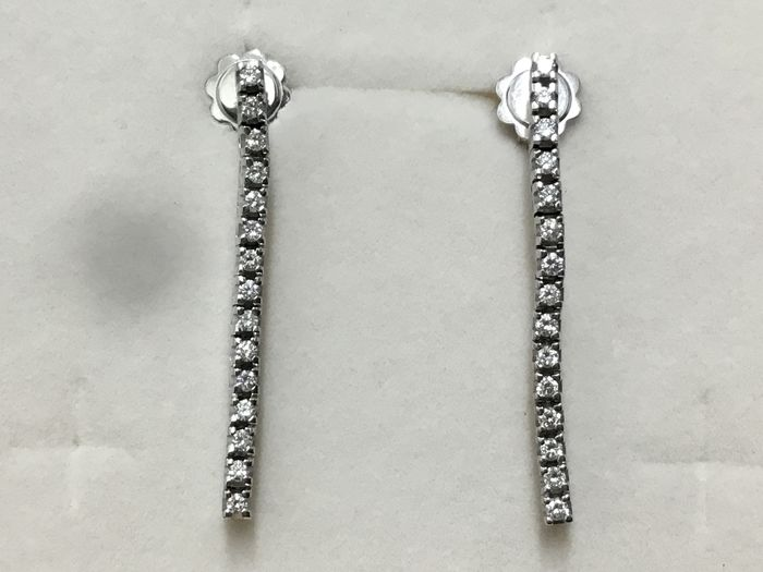 18 kt. White gold - Earrings - Diamonds