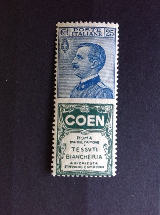 Italie 1924 - Kingdom 1924 ADVERTISING STAMP COEN no. 5, 25 cents intact gum - Sassone 5