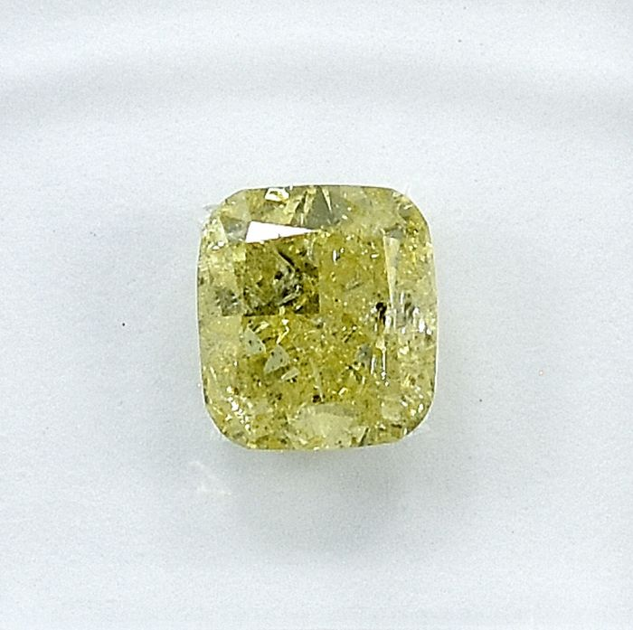 Diamant - 1.19 ct - Kissen - Natural Fancy Light Yellow - I2 - NO RESERVE PRICE