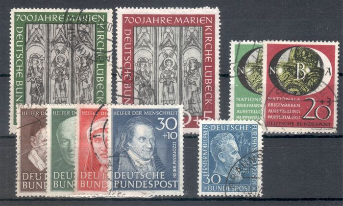 Germania - repubblica federale 1951 - Commemorative stamps from that year, complete - Michel 139-147