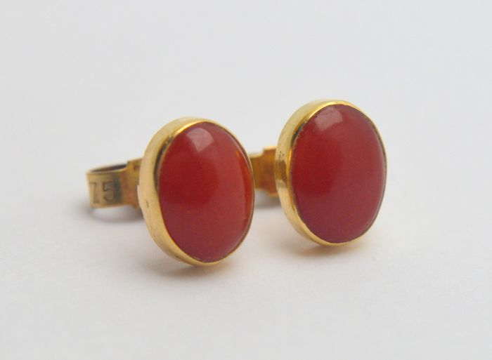 375 Yellow gold - Earrings - 2.00 ct Red Coral