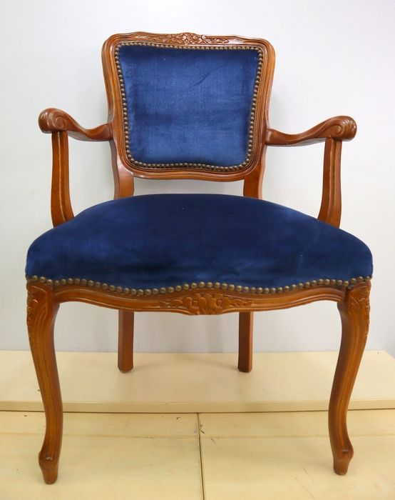 Classic armchair with blue upholstery - Louis XV Style