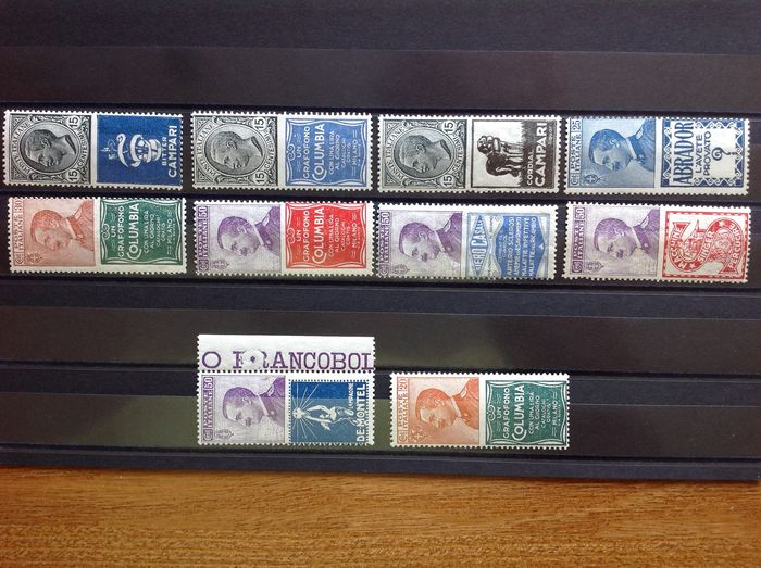Italien 1924 - Kingdom 1924, ADVERTISING STAMPS, LOT OF 10 different values - Sassone 1/2/3/4/9/11/12/15/16/20