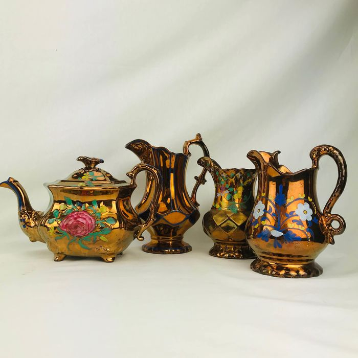 Antique English pottery teaset hand painted Ca. 1850 (4) - Terracotta