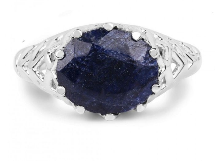 14 kt. White gold - Ring - 5.94 ct Sapphire