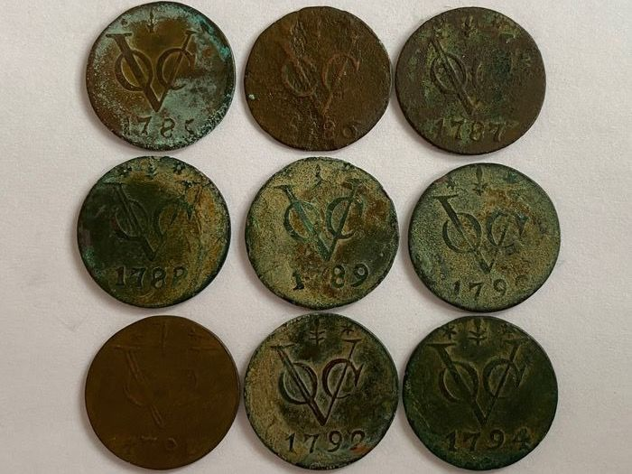 Dutch East Indies - Duit 1785, 1786, 1787, 1788, 1789, 1790, 1791, 1792, 1794 - Copper