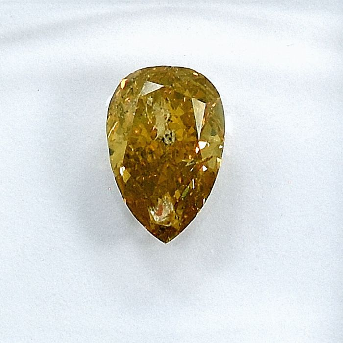 Diamante - 1.01 ct - Pera - Natural Fancy Deep Orangy Yellow - I1 - NO RESERVE PRICE
